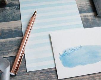 Blue Watercolor Stripe Letter Set | Writing Paper | Stationary Gift Set | Gift for Her | Tween Girl Gift | Stocking Stuffer | Snail Mail