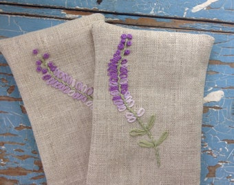 Hand Embroidered Lavender Sachets - Empty, ready to fill!