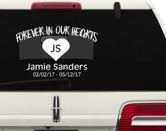 Forever in Our Hearts with Heart Memorial Car Decal/Truck Decal/SUV Decal/Child Memorial Vinyl Car Decal/Auto Decal