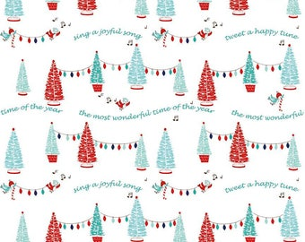 FABRIC CHRISTMAS PIXIE Noel Bluebirds and Trees by Riley Blake  1/2 Yard    We combine shipping