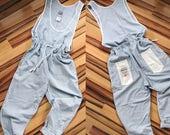 Vintage 80's cotton pinstripe Hollywood Jeans Basic Jumpsuit Romper