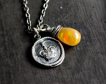 Opal Necklace, Opal Jewelry, October Birthstone, Precious Opal, Egg Yolk, Yellow Opal, Ethiopian Opal, Wire Wrapped, PoleStar
