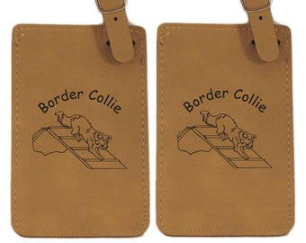 Border Collie Agility A Frame Luggage Tag 2 Pack L1817