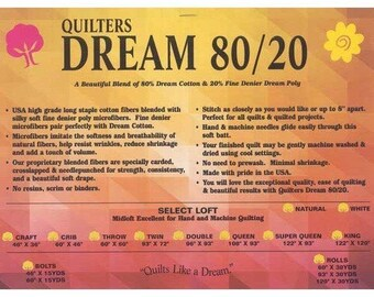 Quilters Dream Batting Natural Select Dream Blend 80/20 Quilt Batting Crafting Sewing  Sampler Pack