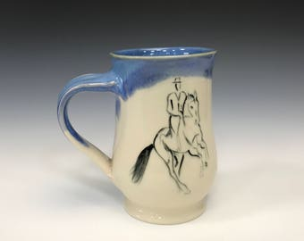 Dressage Horse Mug- Bright Blue - Equestrian Art - Horse Mug - Pirouette - Canter Mug - Blue Cup - Coffee Mug - Dressage - Horseback Riding
