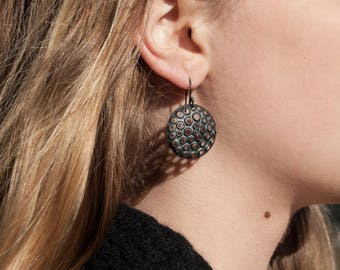 Oxidized, Perforated, Round Sterling Silver Dangle Earrings, 25mm
