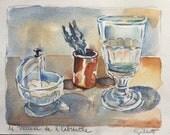 """Auvers musee de l'Absinthe, Original watercolor, Size: 6"""" x 8"""" Arches watercolor paper"""