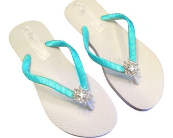 Bridesmaid Flip Flops - Aqua Flip Flops -Bridal Flip Flops - Beach Wedding - Wedding Flip Flops - Aqua Wedding - Bridal Sandals - 30 colors
