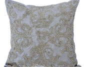 Grey Silver Couch Sofa Cushion Covers 24 x 24 Pillow Sham Covers Silver Bead Embroidered Decorative Pillows - Silver Forever