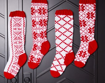 Christmas Stocking, Christmas Stocking Patterns, Christmas Stocking Design, Christmas Knitting, Red and white stocking, Alpine Snowflake