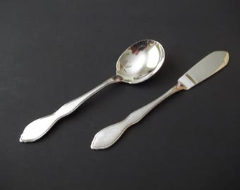 Oneida Twilight Sugar Spoon & Butter Knife, 1881 Rogers Burnished Stainless, 1990s