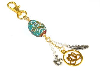 Lotus Bag Dangle Charm, Keychain, Festival Accessory with Boho Style