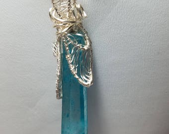 Wire Wrapped and Woven-Deep Aqua Aura Crystal Pendant Necklace - Silver Plated Wire Free US Shipping hand wired cage