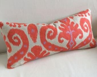 Firefly Ikat tangerine/orange and lavendar pillow 12x25