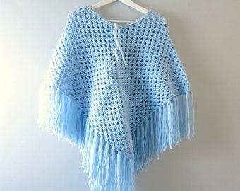 Vintage Blue Poncho | 1970s Baby Blue Knit Fringed Poncho Shawl