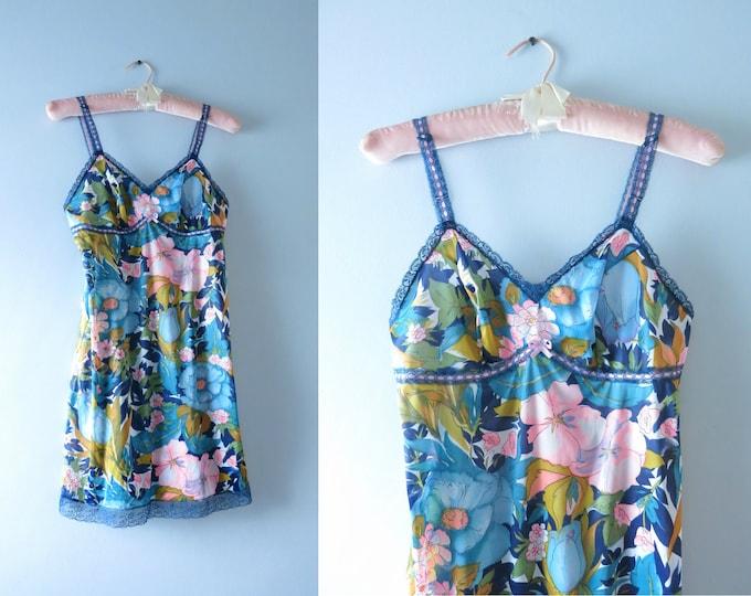 Vintage Mod Slip Dress | 1960s Flower Print Tricot Nylon Mini Slip Dress XS