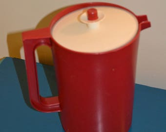 Vintage Tupperware Red Pitcher with Lid, Unused