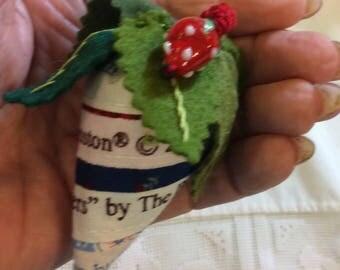 Selvage Strawberry Pincushion...Pincushion Collector...Selvage Berry Pincushion...Pincushion Hand Made...Berry Dangle