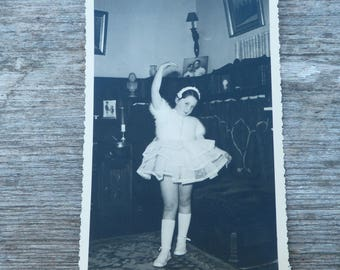 Vintage 1956 French black and white  photography girl dancing