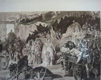 Thusnelda at the Triumph of Germanicus in Rome print by C T Von Piloty  1888