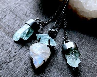 Aquamarine crystal necklace   Raw rainbow moonstone necklace   Apatite necklace   Raw stone necklace   Rough aquamarine stone