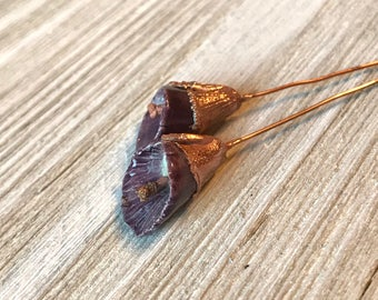 Purple Cala Lilly Ceramic and Copper Electroformed Headpins
