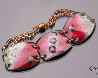 Clélia - Bracelet emaux sur cuivre - trois plaques articulées - céladon / fuchsia - murines - - Gaelys