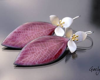 Plus size - two shades of pink veined leaf post earring (pale pink and fuchsia), silver and vermeil - flower enamel Gaelys