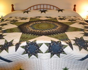 "Amish Handmade Quilted Stars All Around Lg Queen or King 99"" x 110"""