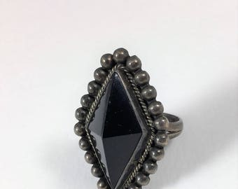 Vintage Sterling Silver Ring with Large Black Onyx Stone