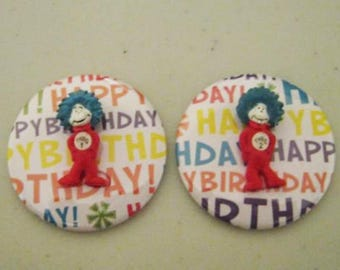 Dr. Seuss THING 1 THING 2 Happy Birthday Flatback 2 inch button craft