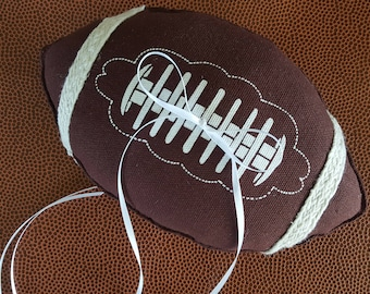 Football Ring Bearer Pillow Brown Laced Team Ring Pillow Wedding