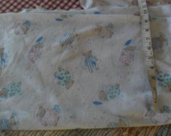 "Brushed Tricot fabric w/Tired Bears Theme- 92""l x 50""w"