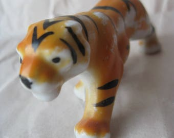 Shabby Tiger Figurine Miniature Porcelain Vintage Orange Black