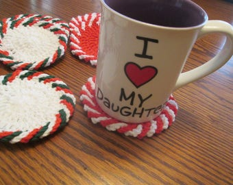 Crochet Christmas Coasters in custom colors
