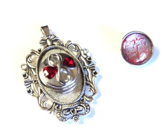 Antique Silver Snap Button Pendant with 2 Snap Buttons, Fancy Oval, Fits 18mm Snap Buttons, Jewelry Supplies, Findings