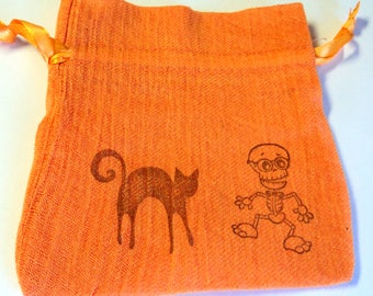 5 Orange Gauze Bags, Halloween Skeleton Black Cat,  gift Bags, Packaging, 4 1/2 x 5 Inches,  Party Favor Bags by Takuniquedesigns