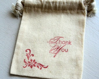 6 Christmas Muslin Gift Bags 3x4 Inches Hand Stamped Flourish Poinsettia Thank You, Red Ink, Takuniquedsigns