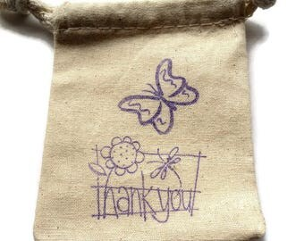 "6 Muslin Gift Bags, 3""x4"", Butterfly Dragonfly Sunflower Thank You Stamped in Purple, Party Favor Bags, Merchandise Bags, Takuniquedesigns"