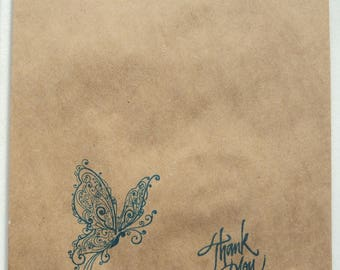 "10 Brown Kraft Paper Bags, Exotic Butterfly Blue Stamped , 7.5"" x 5"" or 9""x6"", Packaging Supplies, Party Favor Bags, Takuniquedesigns"