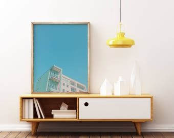 Architecture Art Print, Minimal Blue Wall Art - Summer in the City