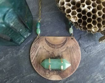 Jade Moon Shield Necklace, Terminated Green Jade Points, Celestial Crescent Moon, Hand Etched Brass Pendant