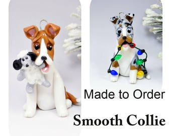 Smooth Collie Dog Made to Order Christmas Ornament Figurine in Porcelain