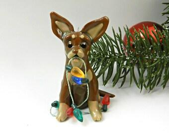 Chihuahua Chocolate Tan Christmas Ornament Figurine Lights Porcelain