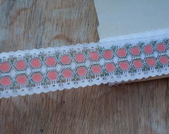 Mod Lace - 3 yards Vintage Fabric Trim 60s 70s New Old Stock Orange Green Geometric