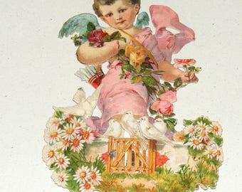 Antique Victorian Cupid Cherub Roses Valentine Card Die Cut Doves at Gate