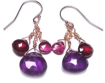 "THREE HEARTS Amethyst Garnet  Pink Tourmaline Brio 1-1/2"" 12k Gold Fill Earrings E418c"