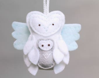 Miscarriage Ornament Remembrance. Owl Ornament with Baby. Angel Baby Ornament.