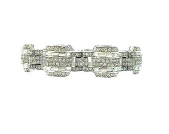 Art Deco Vintage Rhinestone Bracelet, Antique Banded Link, 1920s Vintage Art Deco Jewelry, Fine Rhinestone Jewelry