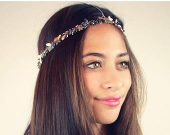SUMMER SALE CHAIN Headpiece- chain headdress head chain silver leaf